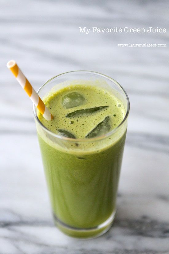 My Favorite Green Juice... Lots of fruits and veggies packed into this delicious drink!!