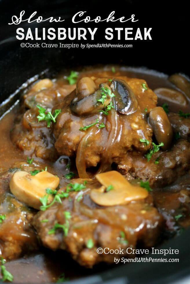 Slow Cooker Salisbury Steak - Spend With Pennies