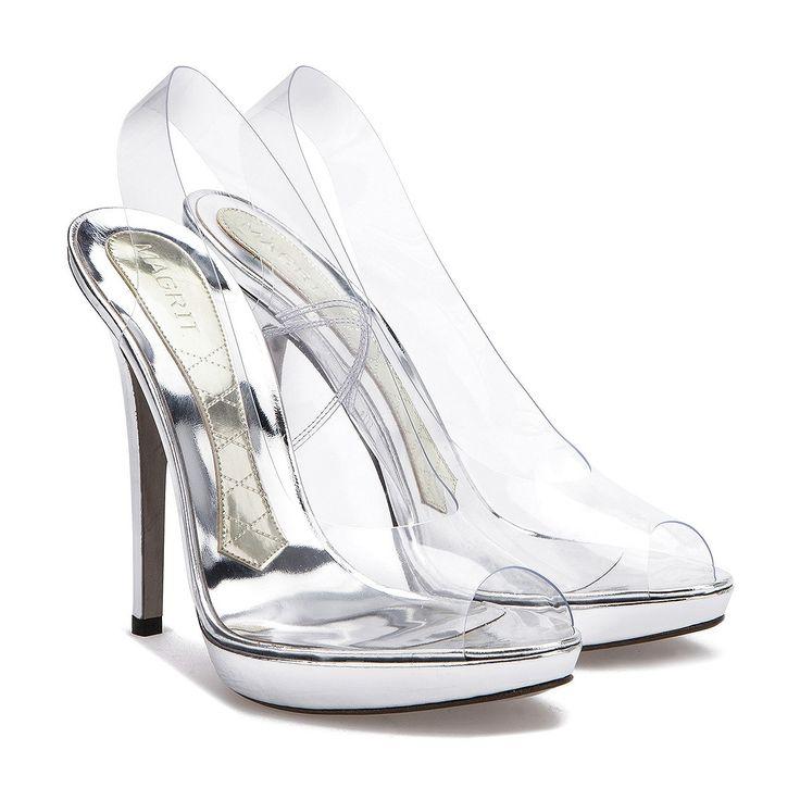 Sandalia peep-toe destalonada en vinilo trasparente y specchio plata