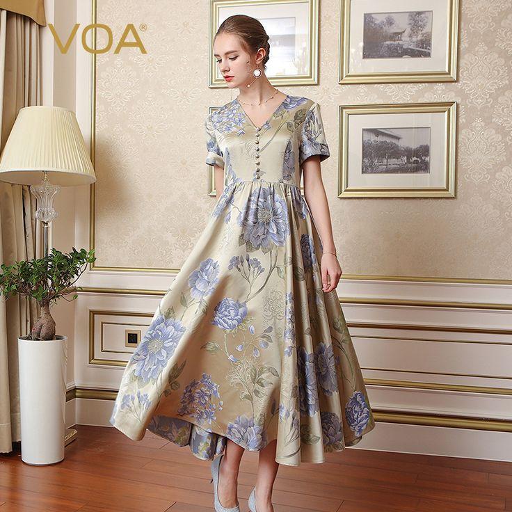 VOA Brand Silk Women Vintage Dresses Elegant Pleated Print Short Sleeves Button V-Neck Robe Longue Maxi Vestidos Female A7737