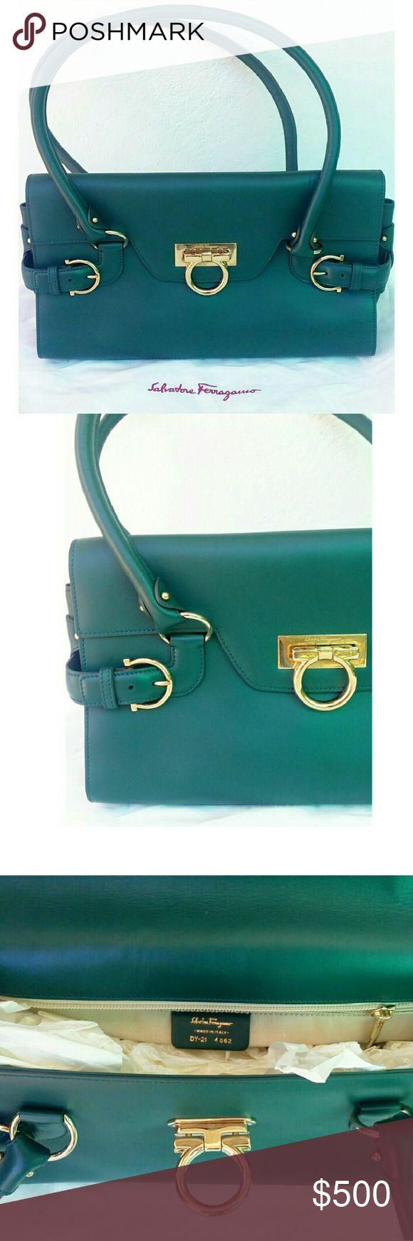 Salvatore Ferragamo Green Shoulder Bag Authentic Salvatore Ferragamo Shoulder Bag in mint condition.   *includes dust cover* Salvatore Ferragamo Bags Shoulder Bags