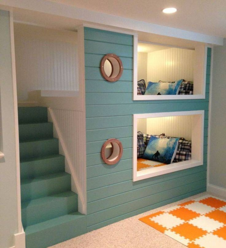 Bedroom , Fun and Cute Bunk Beds With Stairs for Children's Bedroom Decor : Enchanting Built In Bunk Bed With Stairs With White And Turqoise Blue Design