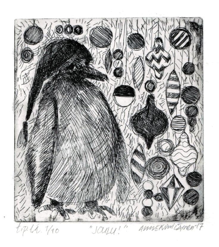 "Anne Kimiläinen  ""JOULU!"", etsaus, 10 x 10 cm,  2017 ""CHRISTIMAS"", etching"