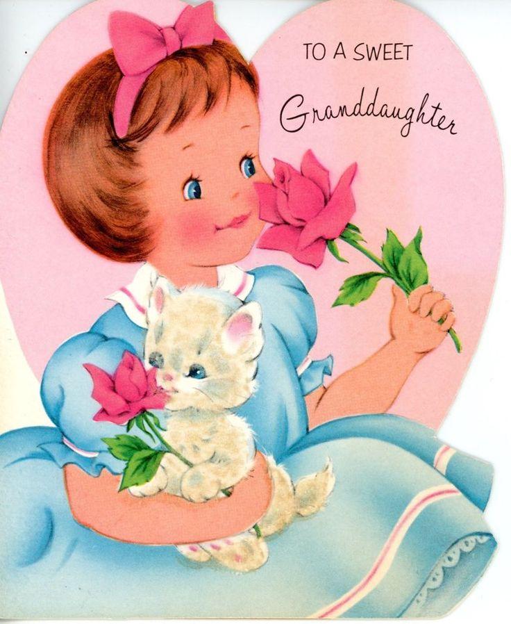 Vintage Norcross Valentine Greeting Card Girl & Glittery Cat Die Cut 2909