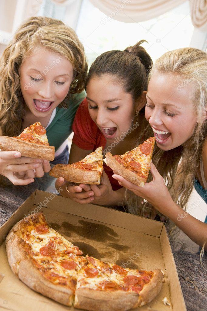 Teenage Girls Eating Pizza Stock Photo Spon Eating Girls Teenage Photo Ad Eat Food People Eating