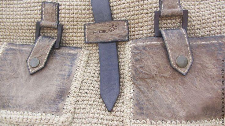 Купить Сумка вязаная Деревенский шик - бежевый, Вязание крючком, джут, джутовый шпагат