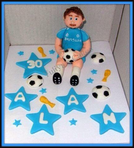 Edible soccer/football player cake topper,Chelsea,sport,ball,birthday,name,stars,any team by Yulcakes on Etsy https://www.etsy.com/listing/258292543/edible-soccerfootball-player-cake