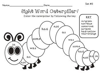 sight word caterpillar coloring page