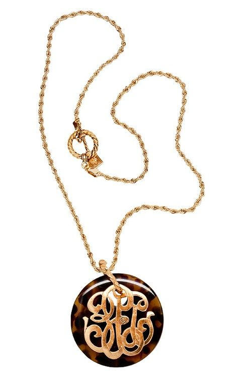 Monogrammed turtle shell necklace  elfsacks