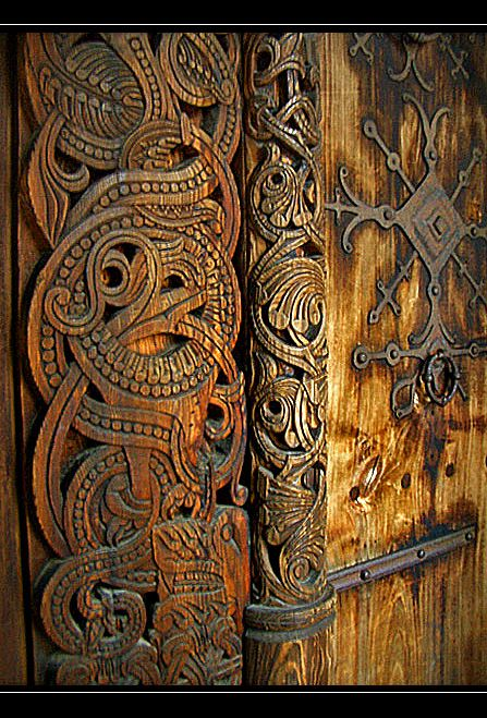 Technically the subject of this photo dates from 1212, therefore after the Viking age officially ended, however it shows the beautiful mastery of woodcarving stemming from earlier Viking traditions. The Vikings were known for their beautiful flowing artwork in which elongated animal forms twist and intertwine with one another, giving a sense of movement and life to an otherwise still carving.