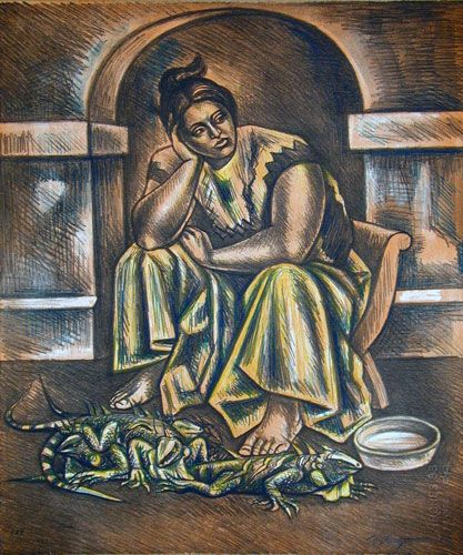 Iguana Seller by Raul Anguiano, Limited Edition Print, Stone Lithograph on Arches 88 Paper