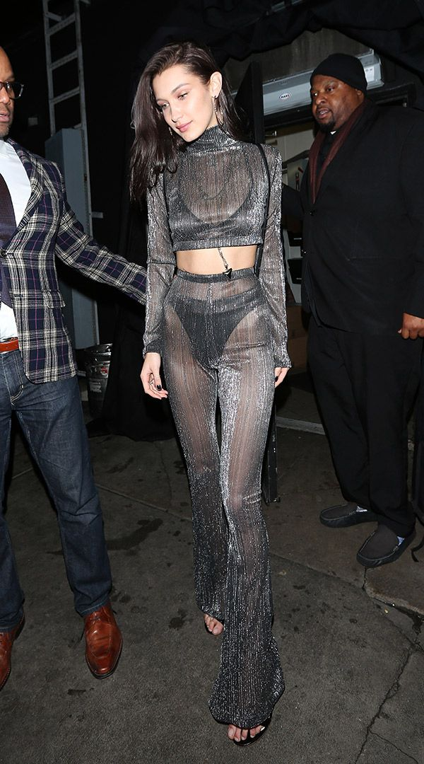 Bella Hadid attends New Year Eve party at The Nice Guy restaurant Dec. 31, 2016 (SplashNews)
