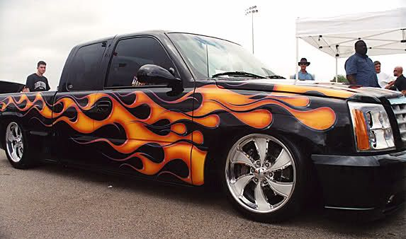 Flame Paint Job Street Scene Grille Hot Rod