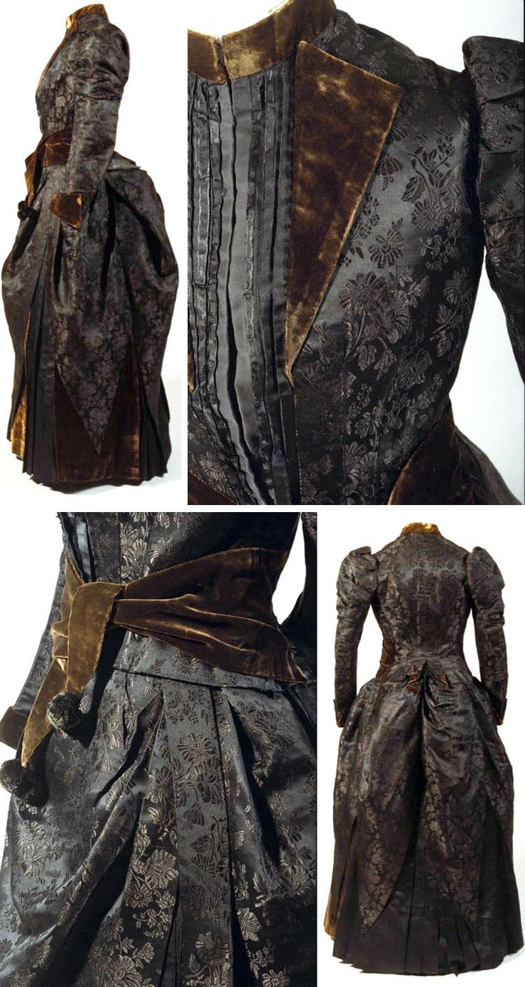 """Dress, probably Japanese, ca. 1887. Silk, silk satin, figured silk velvet. Chrysanthemum pattern. As part of Japan's """"Europeanization"""" policy, women were encouraged to wear Western-style clothing, although the sash on this dress is distinctly reminiscent of the obi. Bunka Costume Museum"""