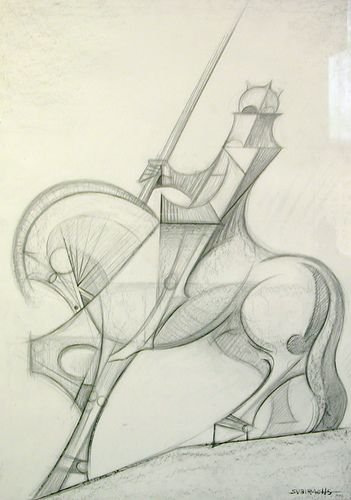 Sketch for a horse sculpture, Gaudi's Sagrada Familia, Barcelona by chailey. This is on my wall in the UK.