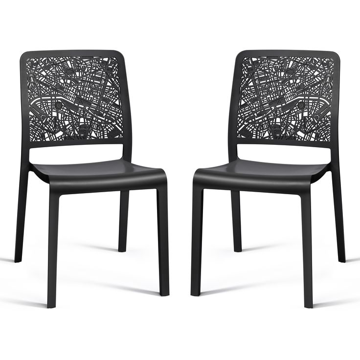 Chaises de jardin empilables en r sine city lot de 2 for Chaise de calvin