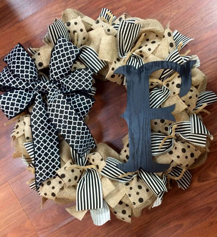Wreath it! Burlap Wreath Wall Hanging-natural Burlap, Black - Made with our Patent Pending Wreath it! Base