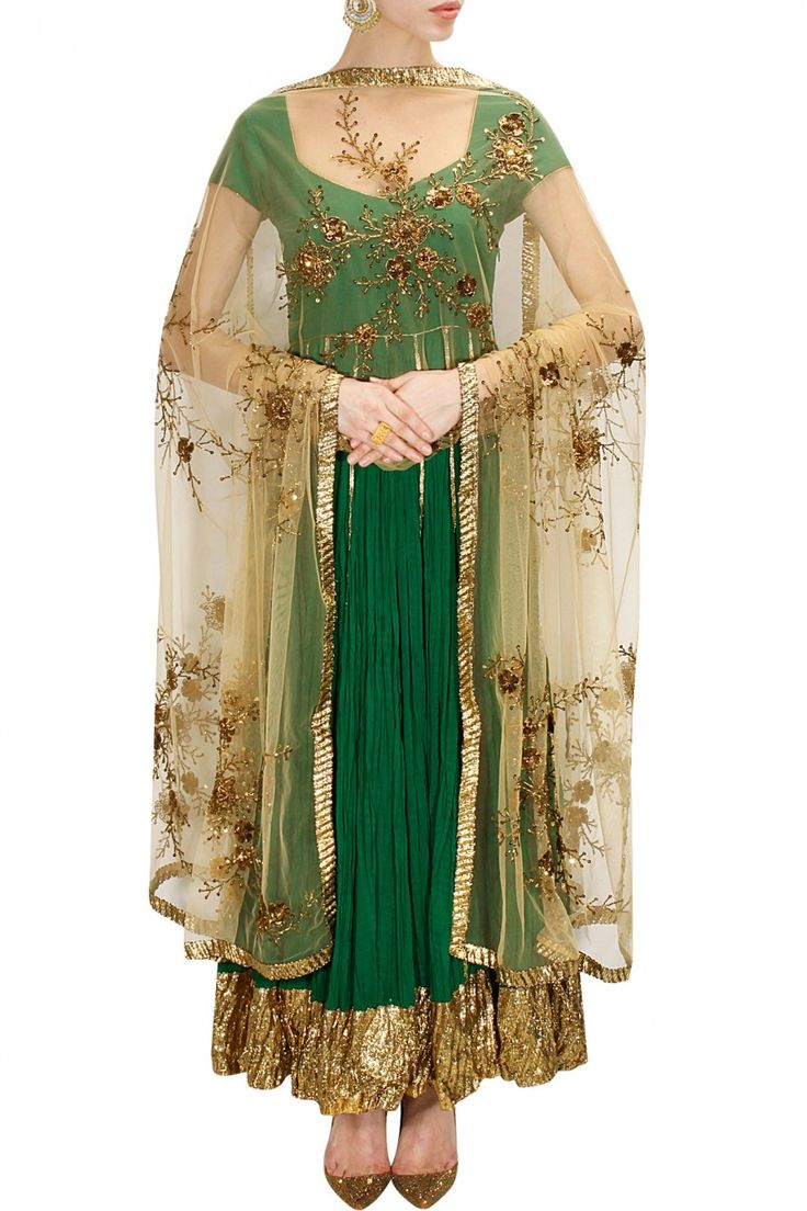 Emerald green and gold embroidered anarkali set available only at Pernia's Pop-Up Shop.