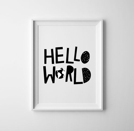 Hello world Baby room art. Black and white baby nursery print and wall art, sweet baby shower gift, scandinavian, nursery decor