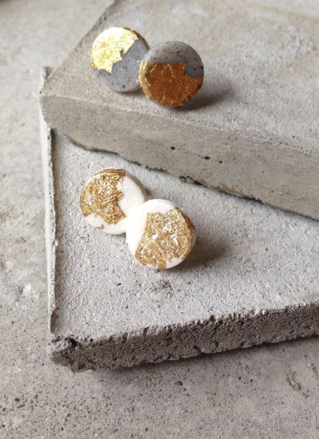 Real Gold Leaf- Gold Foil- Minimalist Polymer Clay Stud Earrings by Round About Botanicals