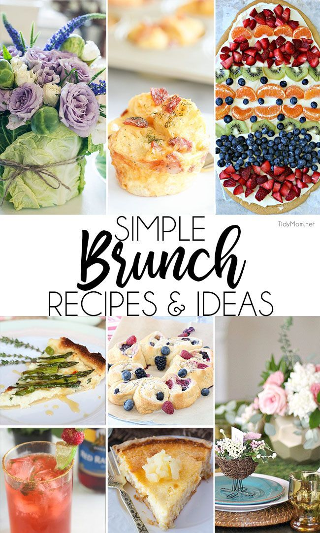 What's not to love about brunch?! You get the best of all meals + dessert all in one sitting and it's usually served a little later than breakfast, so you can sleep in!  Simple Brunch Recipes are in high demand in the Spring, so I've got your brunch-packed weekends covered with easy and delicious brunch recipes. Simple #brunch  recipes and ideas for spring at TidyMom.net via @tidymom #breakfast  #breakfastrecipes #easter