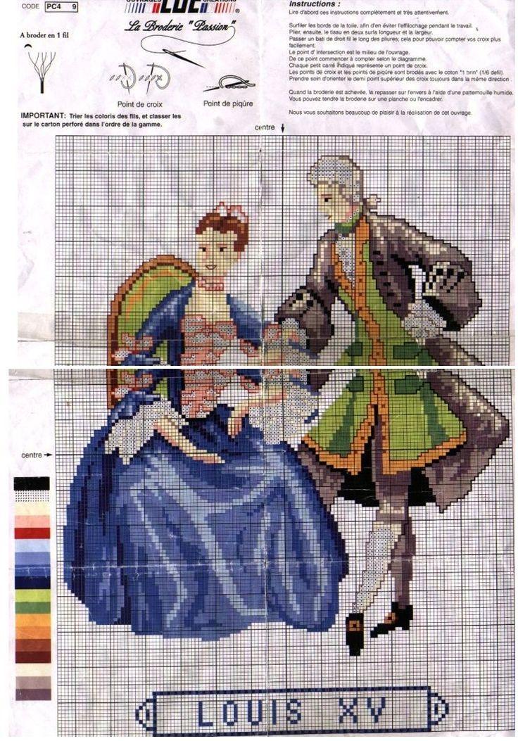 0 point de croix mode femme homme époque Louix XV - cross stitch fashion lady man era Louis XV