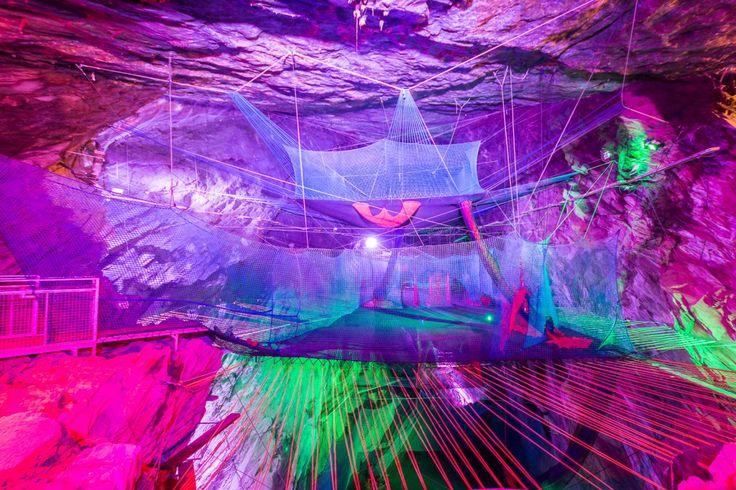 Bounce below cave trampolines