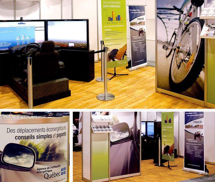 Agence de l'efficacité énergétique : Dans le cadre du Salon de l'auto, l'Agence de l'efficacité énergétique a mis sur pied un kiosque afin de promouvoir les moyens de transport écoénergétiques. C'est d'abord par la conception d'un dépliant informatif, également réalisé par MSCom, que le concept graphique est inspiré, privilégiant des images en plans rapprochés. Aussi, des bannières ont été développées afin d'expliquer le fonctionnement d'un simulateur de conduite écoénergétique.