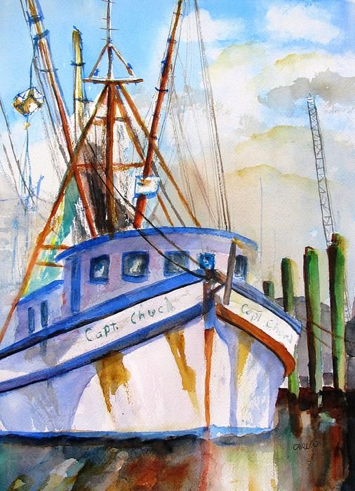 """""""Shrimp Fishing Boat"""" Fine Art Original Watercolor Painting by Carlin Blahnik. The rigging on a trawler creates a visual poetry of lines. This white boat with blue trim and rust stains reflects it's beautiful colors on the harbor waters. The dock fades into the background of suggested buildings, cranes and other boats. http://www.carlinart.com/ Buy Prints: http://carlin-blahnik.artistwebsites.com/featured/shrimp-fishing-boat-carlin-blahnik.html"""