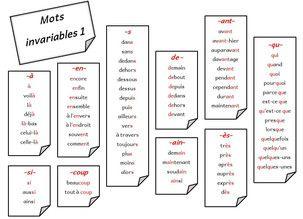 Mots invariables - Stylo rouge et crayon gris