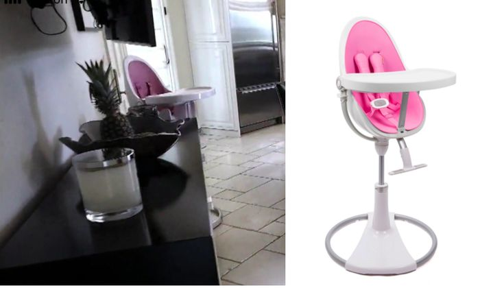 VIP Baby! Get details on Dorit Kemsley's Pink High Chair for Phoenix here: https://www.bigblondehair.com/dorit-kemsleys-pink-high-chair/ #RHOBH Real Housewives Interior Design and Decor