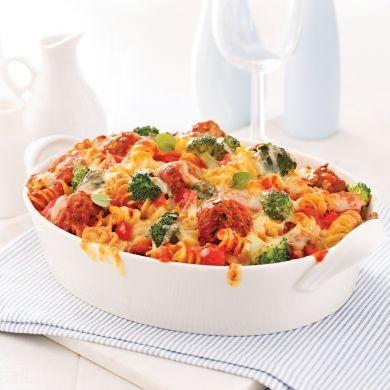 Gratin de fusillis aux légumes et mini-boulettes de viande - Recettes - Cuisine et nutrition - Pratico Pratiques