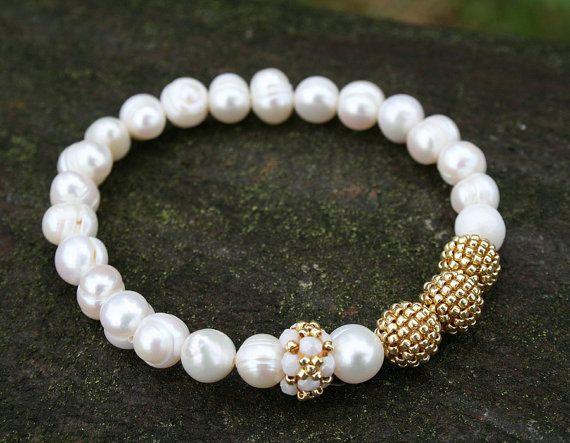 water pearl bracelet gemstone bracelet handmade by koralikowyraj, #waterpearlbracelet