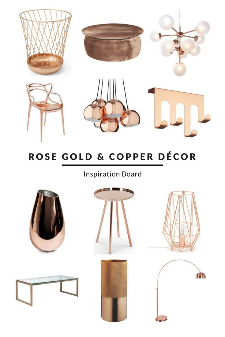 A selection of on-trend rose gold and copper pieces to create a beautiful interior - from striking lights to stunning side and coffee tables. Get ideas on how to decorate your living room, bedroom and any other room in your house at www.furnishful.co.uk/inspiration. Then create your own Inspiration Board! Find the perfect rose gold and copper furniture, decor and accessories to transform your living space.