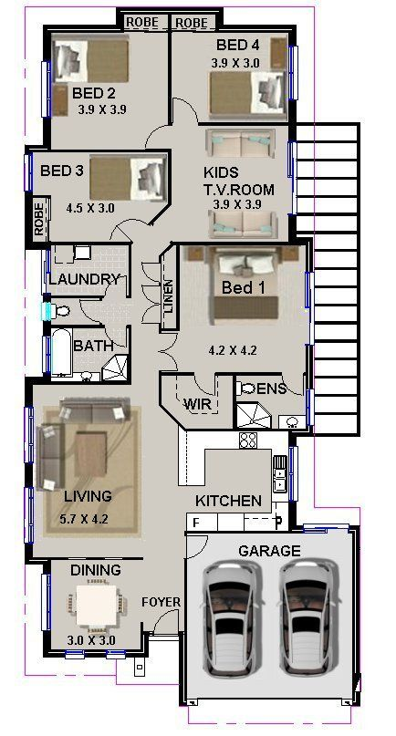 narrow 4 bedroom House plans - Google Search