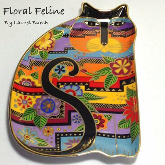Vintage Laurel Burch Floral Feline Fine by PaintedInclinations, $58.00