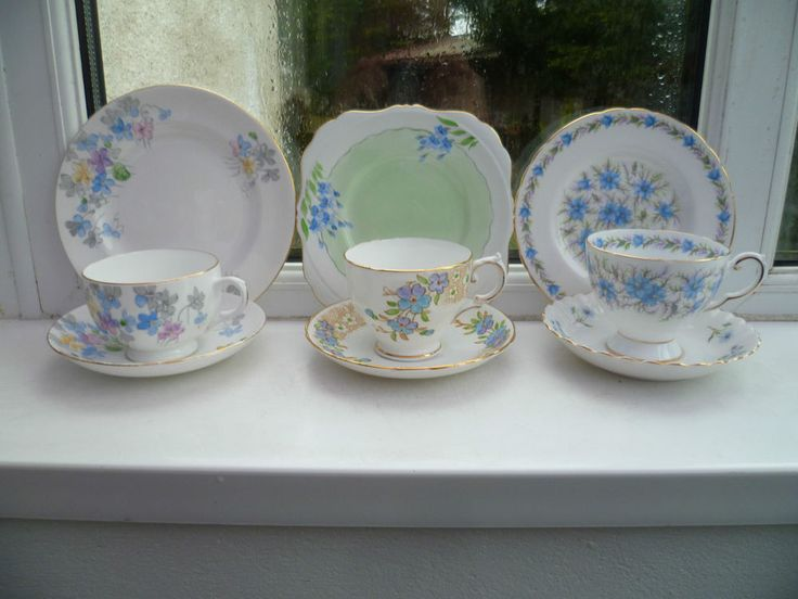 3 Vintage Mix & Match China Trios Tea Cup Saucer Plate Mixed Blue Green Set
