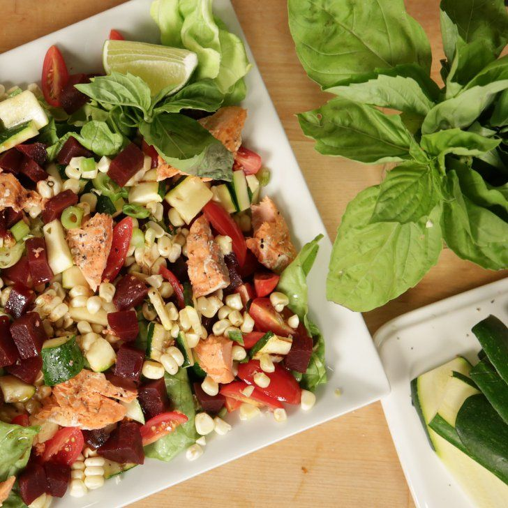 Pin for Later: All the Courgette Recipes You'll Need This Summer The Ivy's Grilled Vegetable Salad With Salmon Get the recipe: The Ivy's grilled vegetable salad with salmon.