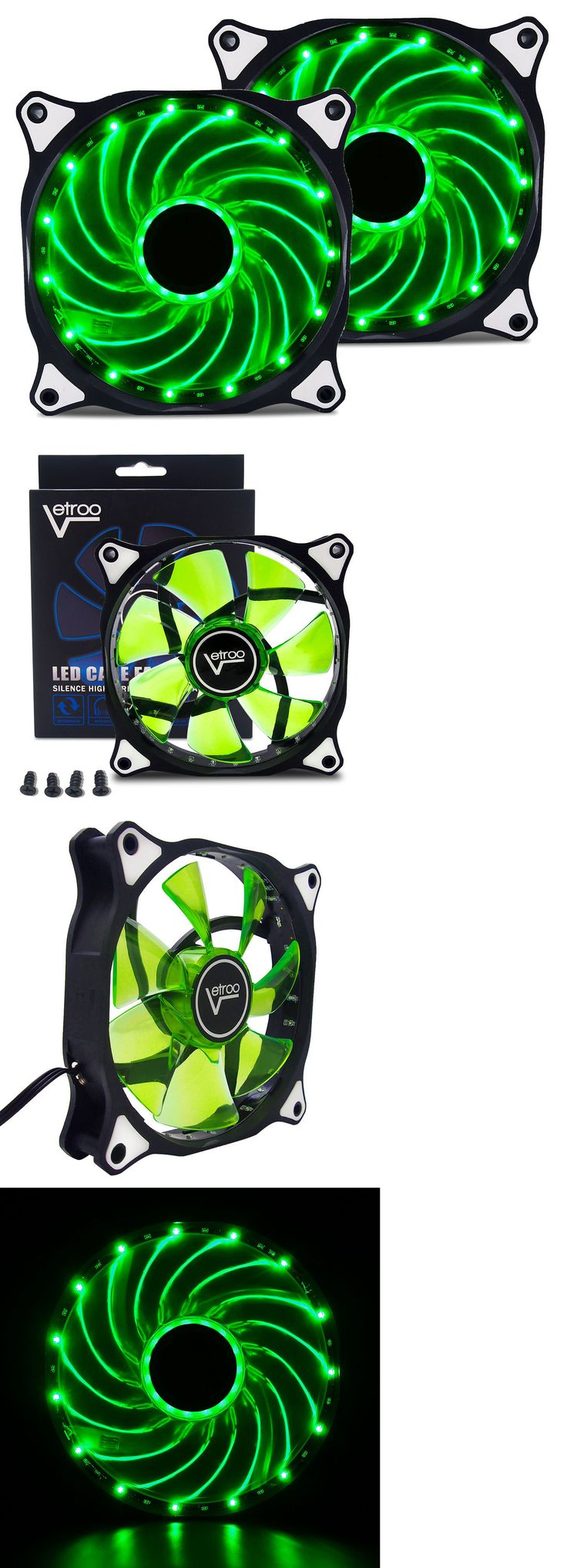 Details about 2 Pack 120mm GREEN LED Computer PC Case
