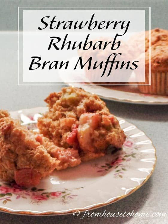 These Strawberry Rhubarb Bran Muffins are a delicious version of the standard bran muffin. They're quick and easy to make, and can be frozen to serve later. #fromhousetohome  #snacks #sweets #fooddrink
