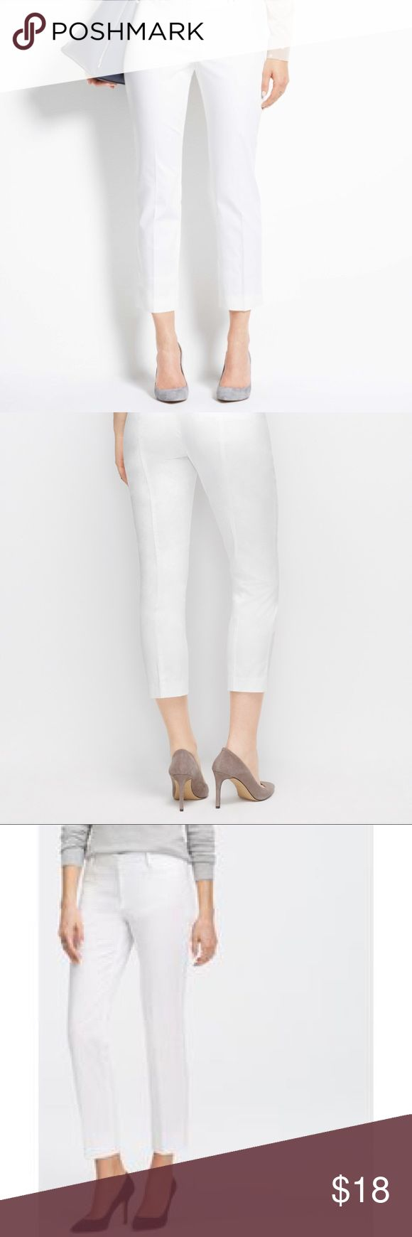 Ann Taylor White Devin Cropped Pants sateen cotton Ann Taylor White Devin Cropped Pants sateen cotton sz 6 worn once Ann Taylor Pants Ankle & Cropped