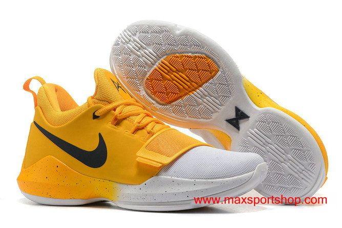 77d48ac0571 Nike PG 1 id Clean Yellow White Men  s Basketball Shoes