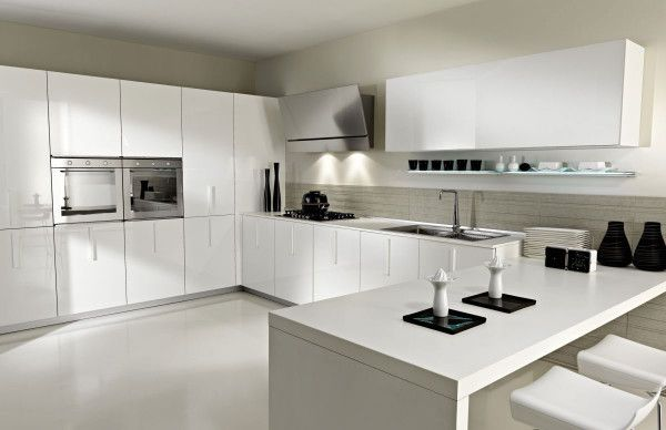 Luxury White Interior Kitchen from Small Kitchen Design Ideas for Aiming Pamper Your Wife 600x388 Small Kitchen Design Ideas for Aiming Pamper Your Wife