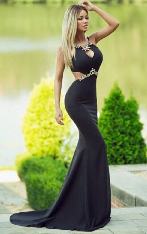 2017 Charming Black Prom Dress,Sexy Tight Evening Dress, Beading Prom Dress with Train,Long Prom Dresses