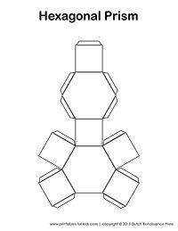 Hexagonal Prism - Tim's Printables. Great site for 3D geometric cutouts!
