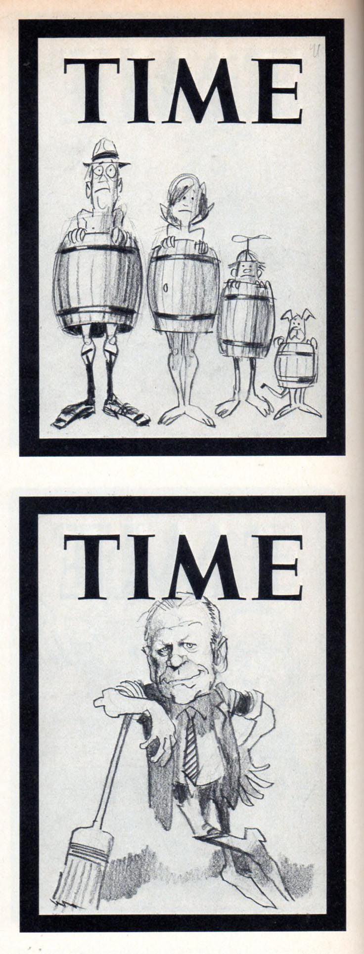 Jack Davis sketches for Time Covers