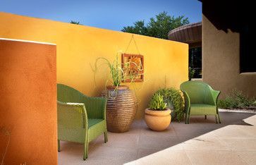 Hot to Trot Yellow Ochre, lime green and Tangerine.