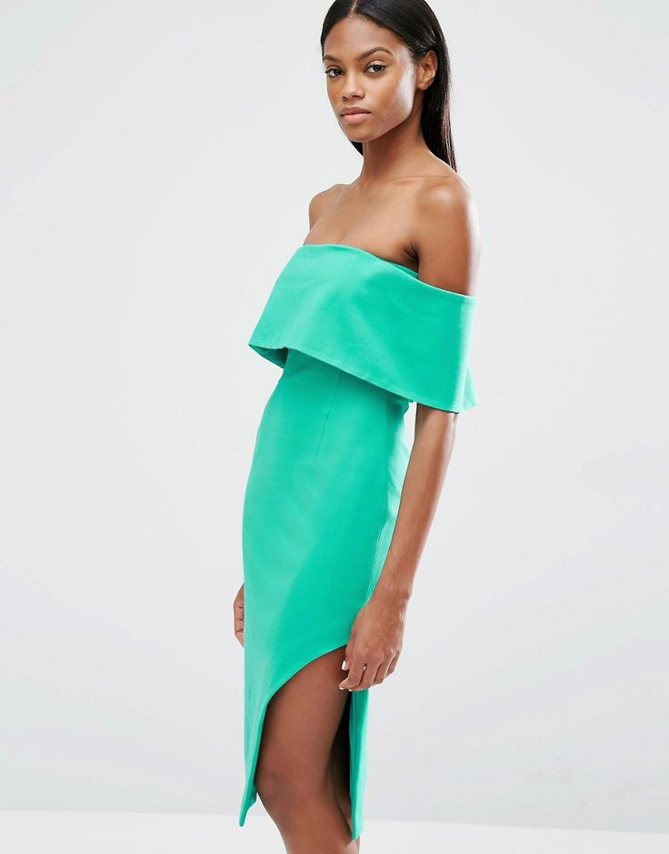 Lavish+Alice+Deep+Bandeau+Asymmetric+Hem+Midi+Dress
