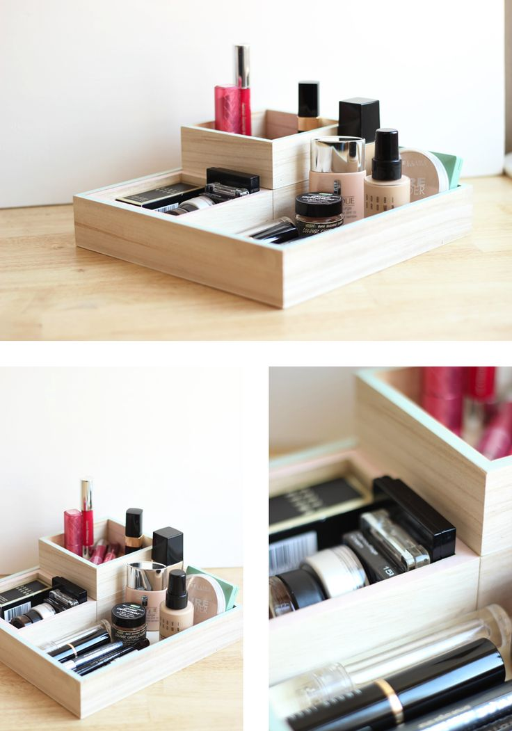 Wooden container for makeup