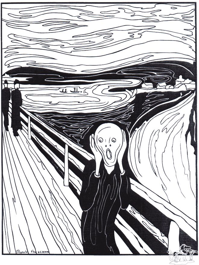 Lots of Coloring sheets for famous works including Painter Munch